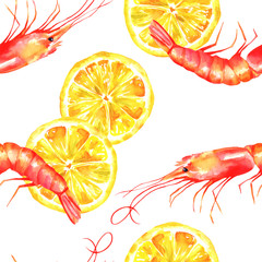 A seamless watercolor pattern with shrimps and lemons on a white background, a fresh seafood repeat print