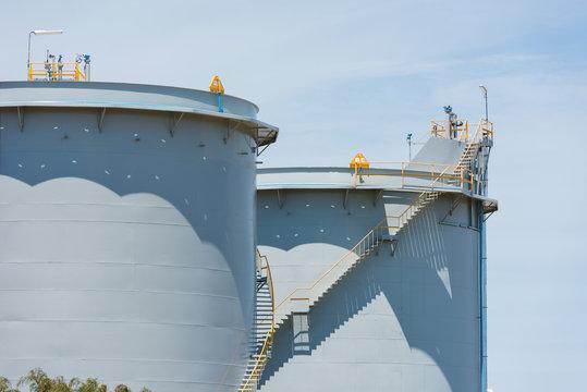 Large industrial storage tanks