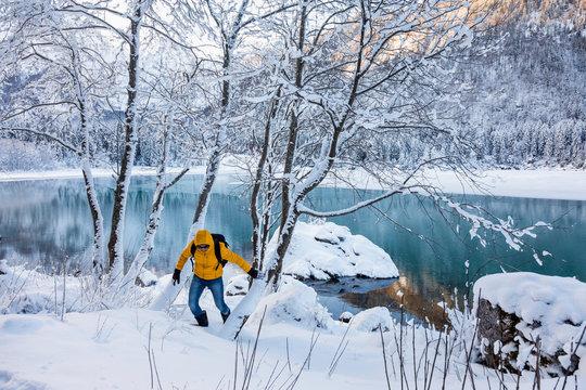 Lake on mountain during winter