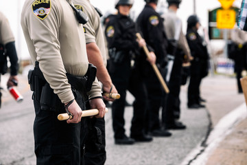 Protest: Police Unit Stands To Secure Area Around Protesters