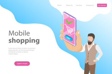 Flat isometric vector landing page template for online shopping, e-commerce, mobile store, payment.
