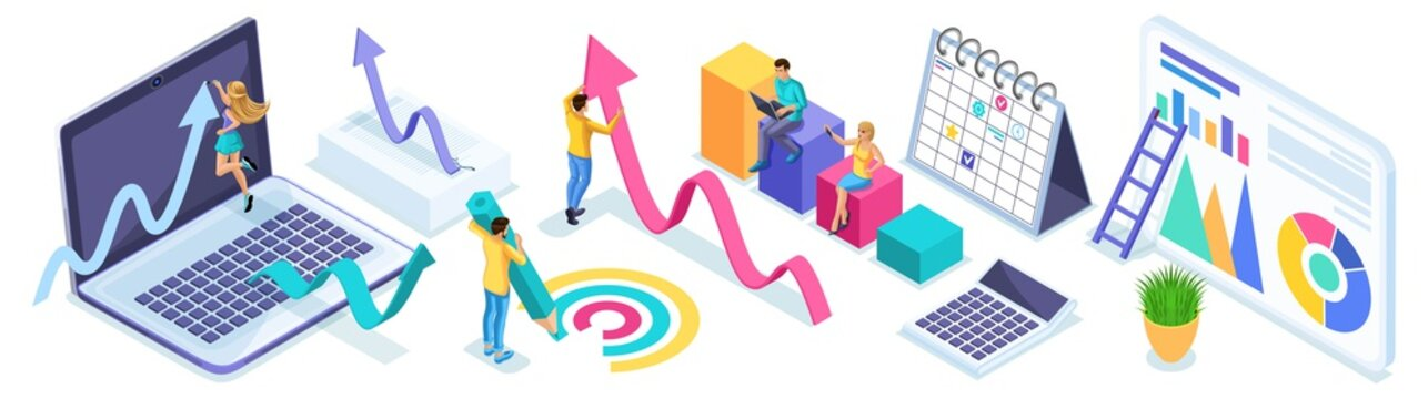 Isometric set of entrepreneurs in the process of work, diagrams, analytics and reports. Icons for creating advertising concepts and web banners