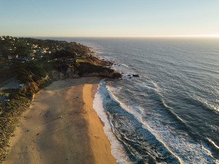 Aerial view of the coast, ocean, and beach in California