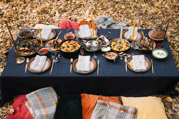 Outdoor dining setup, Table setting for the dinner party in the forest