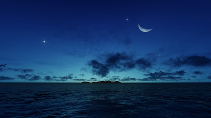 Night ocean with island, moon and stars
