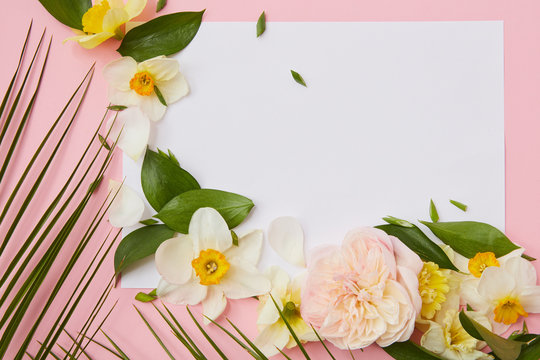 cardboard decorated with rose, daffodil and leaves.
