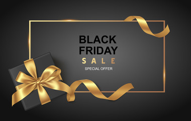 Black friday sale design template. Decorative black gift box with golden bow and long ribbon. Vector illustration