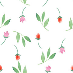 Floral seamless pattern with different little flowers and leaves