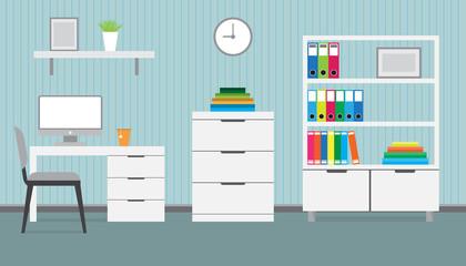 Flat design of modern workspace, office interior, vector illustration