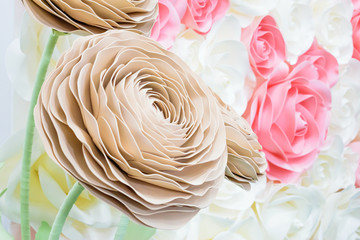 Large Giant Paper Flowers. Big pink, white, beige Rose, peony made from paper. Pastel paper...