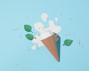 Vanilla ice cream made of paper