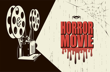 horror night cinema poster with retro movie projector background