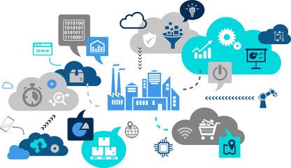 smart factory / iot / automation concept: smart technology in business, industry 4.0, big data & digitalization