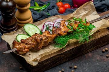 chicken kebab on board