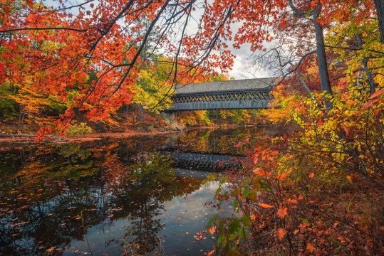 Hinniker Covered Bridge In Autumn