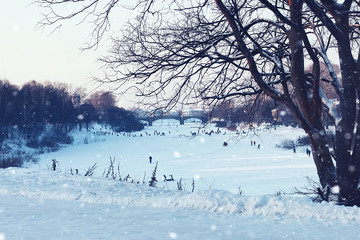 city footpath winter