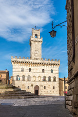View at the building of City hall in Montepulciano town - Italy
