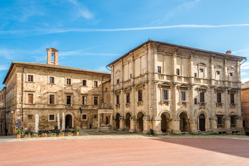 View at the old buildings at Grand place in Montepulciano - Italy