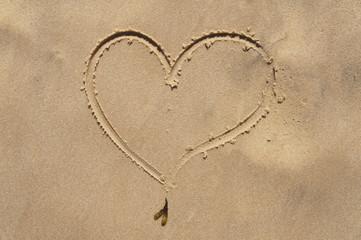Cuore disegnato sulla sabbia