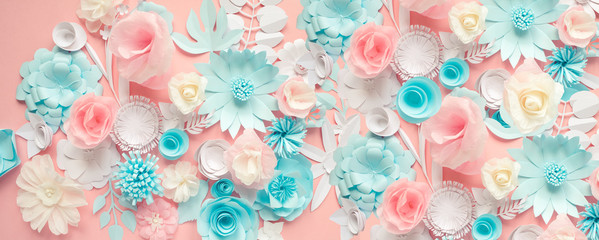 blue, pink and white paper flowers on pink background