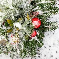 Snow on Christmas decoration