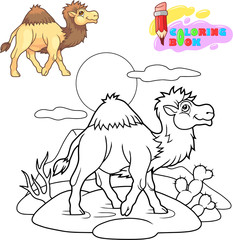 cartoon cute camel is walking in the desert, coloring book