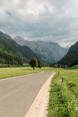 Road through the beautiful landscape alpine valley.