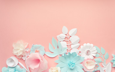 blue, pink and white paper flowers on the pink background
