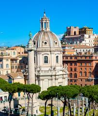 Trajan's Column (Colonna Traiana) and SS Nome di Maria church in Rome, Italy