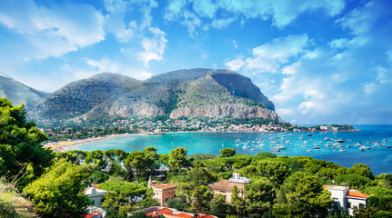 Spoed Fotobehang Palermo View of the gulf of Mondello and Monte Pellegrino, Palermo, Sicily island, Italy
