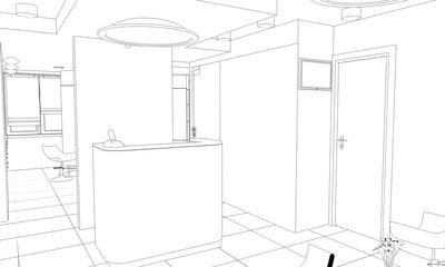 interior beauty salon contour visualization, 3D illustration, sketch, outline