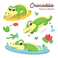 Illustration set of Cute Crocodile Character with Cartoon Style