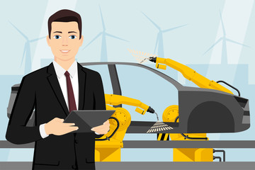 A manager with a digital tablet controls the welding robots on the car assembly line. Smart factory. Vector illustration
