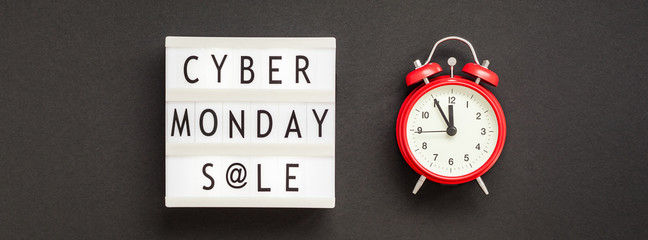Cyber Monday sale text on white lightbox