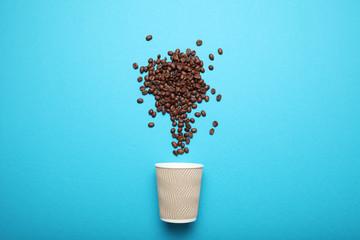 Takeout coffee drink. Breakfast latte.