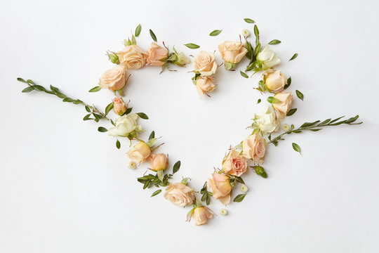 Roses buds as heart