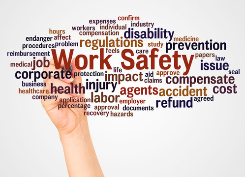 Work Safety word cloud and hand with marker concept