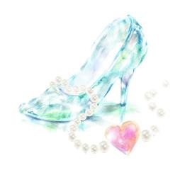 ガラスの靴 ジュエリー 手描き