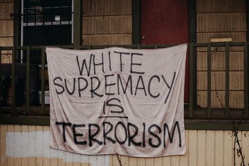"""White Supremacy is Terrorism"" Sign Hanging in Portland, Oregon"