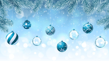 Christmas background with fir branches an decorations