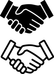 Handshake or contract agreement flat vector icon