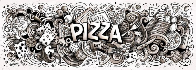 Cartoon cute doodles Pizza word. Line art horizontal illustration.