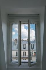 Open Window Overlooking Parisian Apartment
