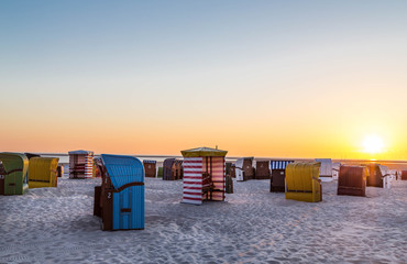 Sunset on the beach of Borkum island. Nort sea. Germany.