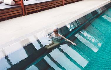 Woman Relaxing in Spa Swimming Pool