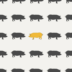 Seamless pattern with symbol of new year - yellow pig. Good for greeting card, packing or background for New Year and Christmas. Vector illustration.