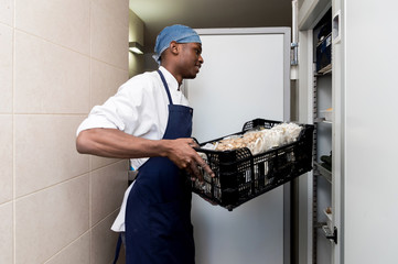 Man working at kitchen
