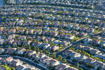 Aerial view of modern residential streets in the San Fernando Valley region of Los Angeles, California.