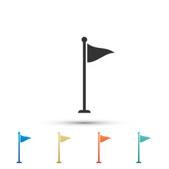 Golf flag icon isolated on white background. Golf equipment or accessory. Set elements in colored icons. Flat design. Vector Illustration