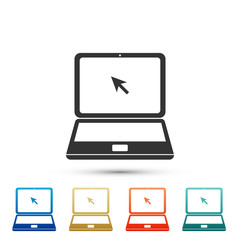 Laptop with cursor icon isolated on white background. Set elements in colored icons. Flat design. Vector Illustration